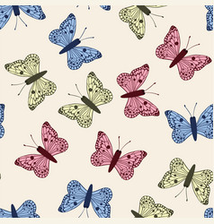 multicolor butterflies set seamless pattern white vector image