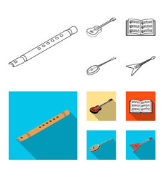 musical instrument outlineflat icons in set vector image