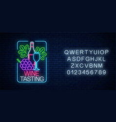 neon glowing sign wine tasting in rectangle vector image