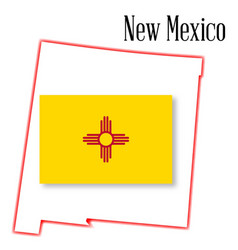 new mexico state map and flag vector image