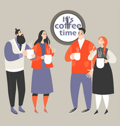 office life with people drinking coffee vector image