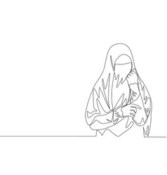 One continuous line drawing young beauty asian vector