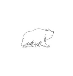 one single line drawing big grizzly bear vector image