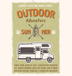 Outdoor adventure on caravan bus poster vector