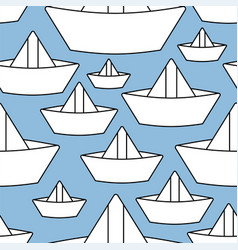 Paper boat pattern seamless ship made paper vector