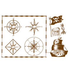 pirate ship and other symbols vector image