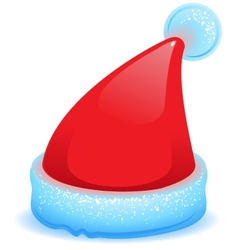 Red Christmas hat with blue trim vector