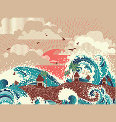 retro sea waves and tropical island vector image