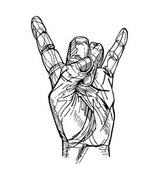 rock and roll hand sign vector image
