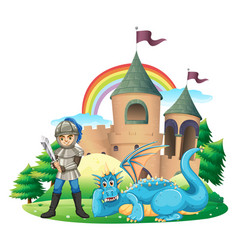 Scene with knight and blue dragon vector