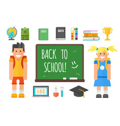 school supplies stationery equipment and schoolkid vector image