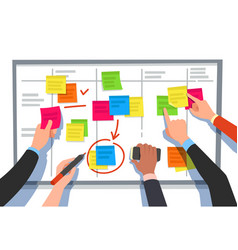 Scrum board task list planning team tasks and vector