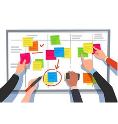 Scrum board task list planning team tasks and vector