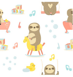 seamless baby pattern with cute sloths vector image