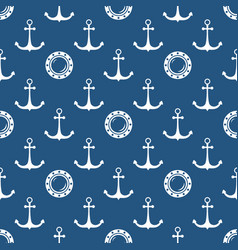 Seamless blue and white maritime pattern vector