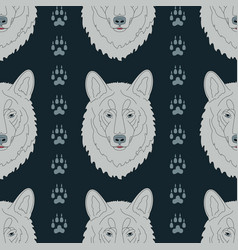 Seamless pattern with wolves and traces vector
