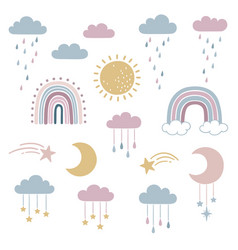 set cute sky and weather elements vector image