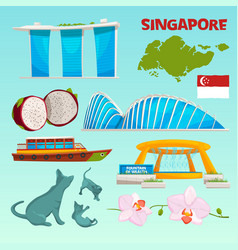 set different landmarks of singapore vector image
