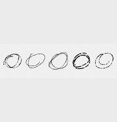 set grunge hand drawn sketch circles in vector image