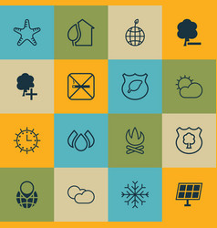 Set of 16 eco icons includes insert woods delete vector