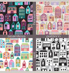Set seamless pattern houses vector