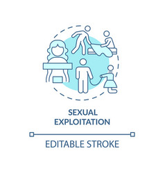 Sexual abuse blue concept icon vector