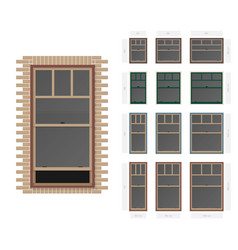 Single hung plaza style typical window set in vector
