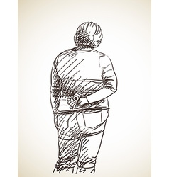 sketch woman standing and holding photo camera vector image