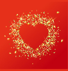 Sparkling golden heart love vector