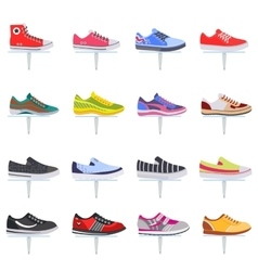 Sport shoes sneakers collection set vector