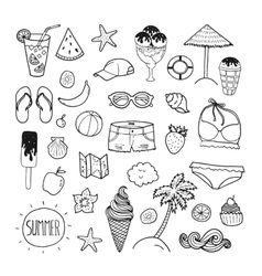 Summer hand drawn collection vector