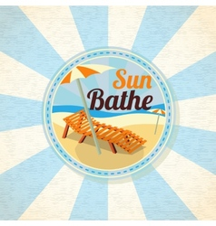 Summer sun bathe on the shore retro background vector