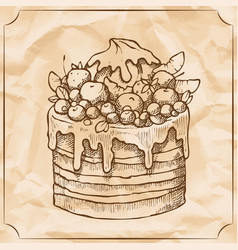 Sweet retro cake with fruit and berries treat for vector