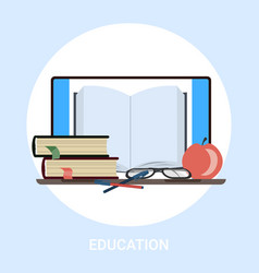 textbook and tablet pc knowledge education e vector image