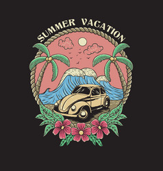 vintage summer vacation on beach vector image