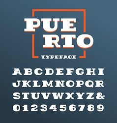 Wide slab serif font alphabet with latin letters vector