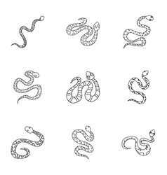 Wild snake icon set outline style vector