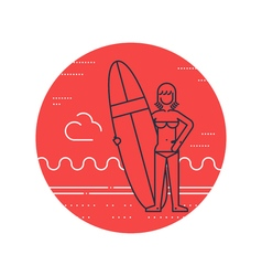 Woman on the beach with surf board standing vector