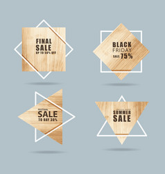 wooden sign with creative sale banner modern vector image