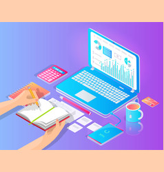 workplace with laptop and useful stuff on desktop vector image
