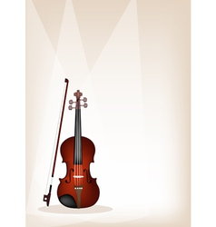 A Beautiful Violin on Brown Stage Background vector image