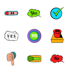 button yes icons set cartoon style vector image vector image