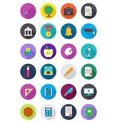 Color round school icons set vector image
