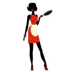 Housewife with pan vector