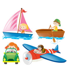 kids in different types of transportations vector image
