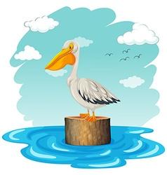 Pelican standing on log vector image