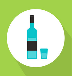 Alcohol bottle with glass flat style vector