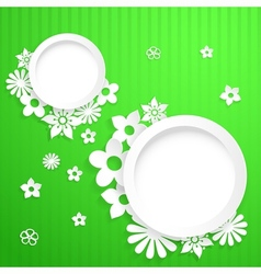 Background with circles and paper flowers vector image