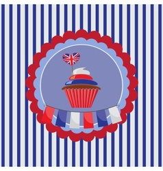 background with cupcake in UK traditional colors vector image