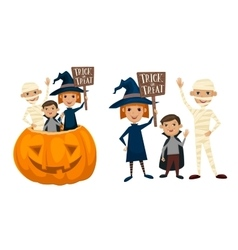 Kids in halloween costumes vector